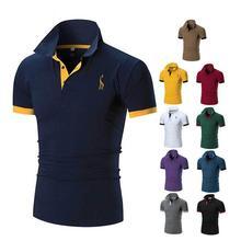 2019 mężczyźni stałe kolorowy jeleń haft Polo koszula odzież Business Casual bawełna mężczyzna z krótkim rękawem Slim