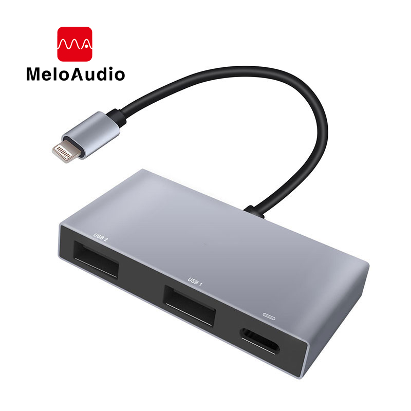 MeloAudio For Lightning To Dual USB 3.0 Camera Adapter OTG Cable With Charging Port Support U Disk For IPhone IPod,No App Needed