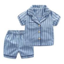 Boys Pajama Sets Summer Cotton Sleepwear Clothing Underwear Baby Kids Suits Striped Shirts+ Shorts 2pcs