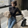 2019 Spring And Autumn New Style Sexy Perspective Lace Crochet Base Shirt Slim Fit Long Sleeve High Collar Underwear Tops WOMEN'