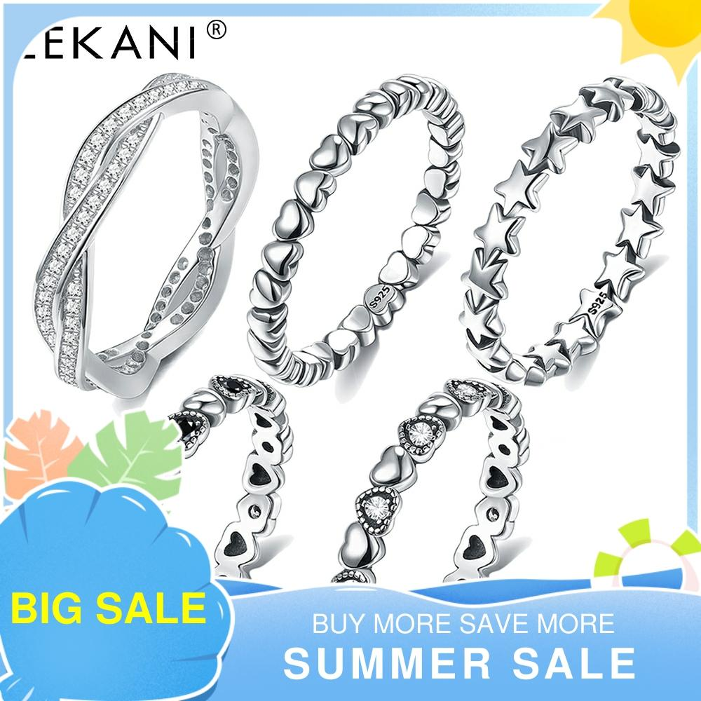 LEKANI 925 Sterling Silver Ring Love Heart Star Party Ring For Women Wedding Rings Original Fine Jewelry 5 Styles Hot Sale 2021