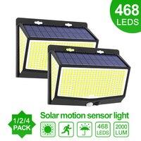 468/144 LED Outdoor Solar Lampe PIR Motion Sensor Wasserdicht Sonnenlicht Powered wand Licht Garten dekoration Notfall Straße Licht