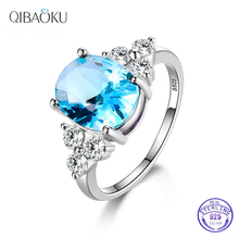 925 Sterling Silver Rings White Pink Light Blue Champagne Zircon Oval Wedding Ring Women's Jewelry
