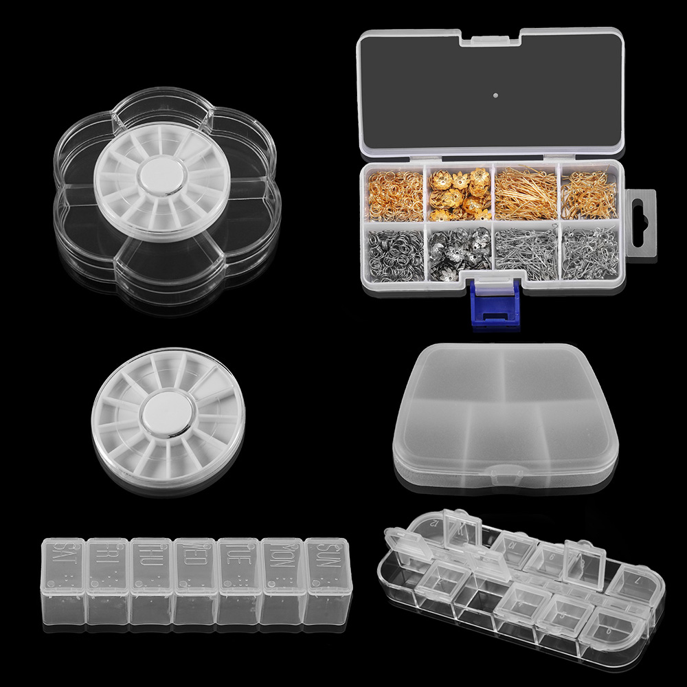 Multi Style Round Square Grids Adjustable Plastic Jewelry Box Storage Display Boxs Jewelry Accessories Storage For DIY Supplies