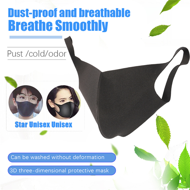 Black Mouth Mask Anti Dust Mask PM2.5 Activated Carbon Filter Windproof Bactea Proof Flu Face Masks Care Safety Mask for Dust 5