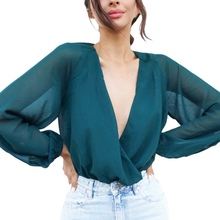 Sexy Bodysuits Women Solid Color Long Sleeve V-neck Top Casual Chiffon Basic Bodysuit Jumpsuit Female