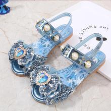 Disney Elsa Princess Kids Leather Sandals For Girls Glitter Children Flat Heel Girls Shoes Knot Sandals Size 22-36