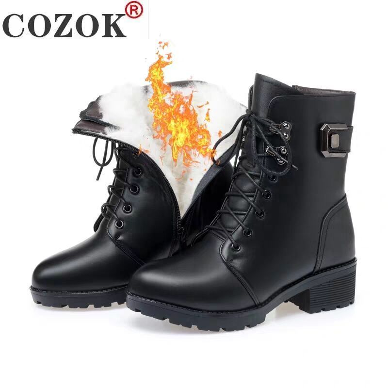 Ankle Boots Women Winter New 2021 Wool Warm Non-slip Ladies' Boots Large Size 41 42 43 Winter Snow Boots fgb678