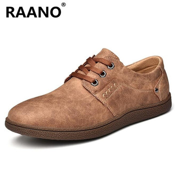Men Spring Autumn Fashion Comfy Leather Leisure Footwear Lace-up office Male Shoes Brand Outdoor Men's Casual Shoes Moccasins