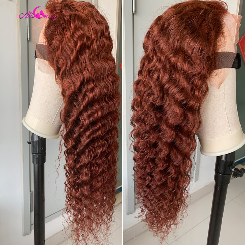 Ali Coco 13x4 Orange Ginger Deep Wave Human Hair Lace Front Wigs 1B/Ginger Ombre Color Brazilian Remy Deep Wave Wigs Pre Plucked