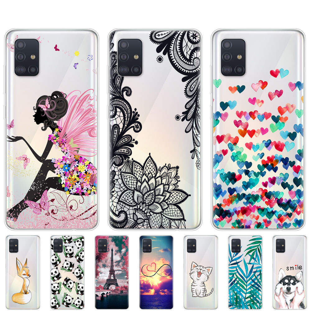 Case For Samsung Galaxy A51 Case Silicon Transparent Back Cover For Samsung A51 A515 6.5inch Bumper Coque Soft Coque Cute Cat