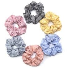 Korean Sweet Net Plaid Elastic Hair Bands Scrunchies Rope Ties For Girls Women Ponytail Holder Rings Accessories