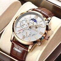 LIGE الرجال الساعات 2021 موضة جديدة جلدية مقاوم للماء مضيئة العلامة التجارية الفاخرة رجالي كوارتز ساعة اليد الرجال Relogio Masculino + صندوق