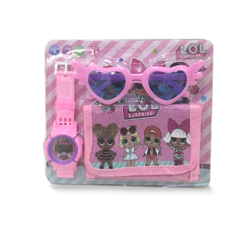 Regalo Original De LOL Surprise Dolls, 3 En 1, Figuras Lol, Gafas De Sol,billetera Con Reloj Digital, Figura De Anime Kids Watch