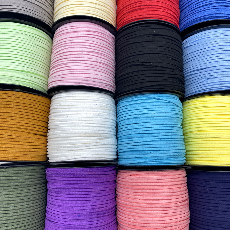 5Yards/lot 3mm Double Sided Suede Braided Cord Korean Velvet Leather Handmade Beading Bracelet Jewelry String