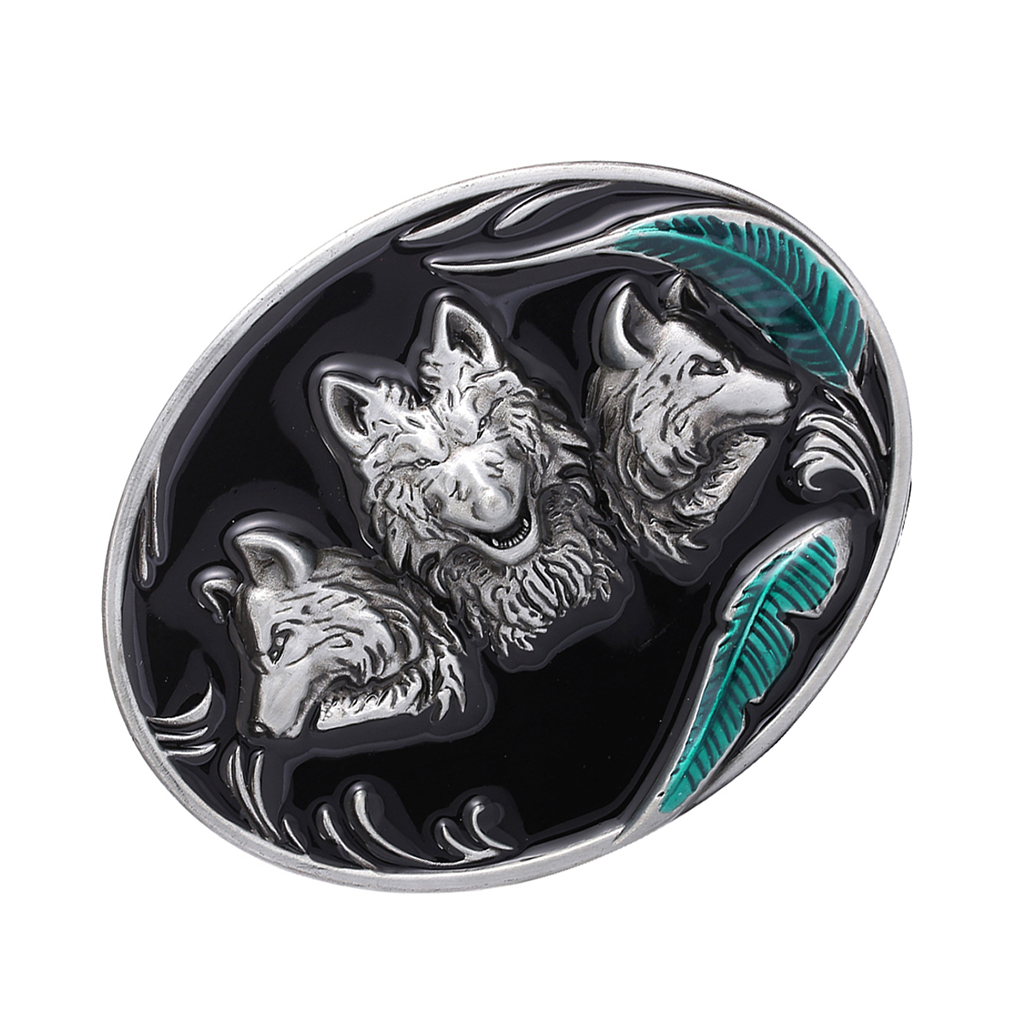 3D Wolf Head Metal Belt Buckle Cowboy Replacement Belt Buckle Man Gift Cool Buckle For 36-39mm Leather Belt