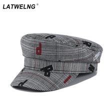 New Fashion Women Letters Military Caps Retro Striped Octogonal Caps Autumn Winter Hip-hop Newsboy Caps European And American Style Literary Flat Cap(China)