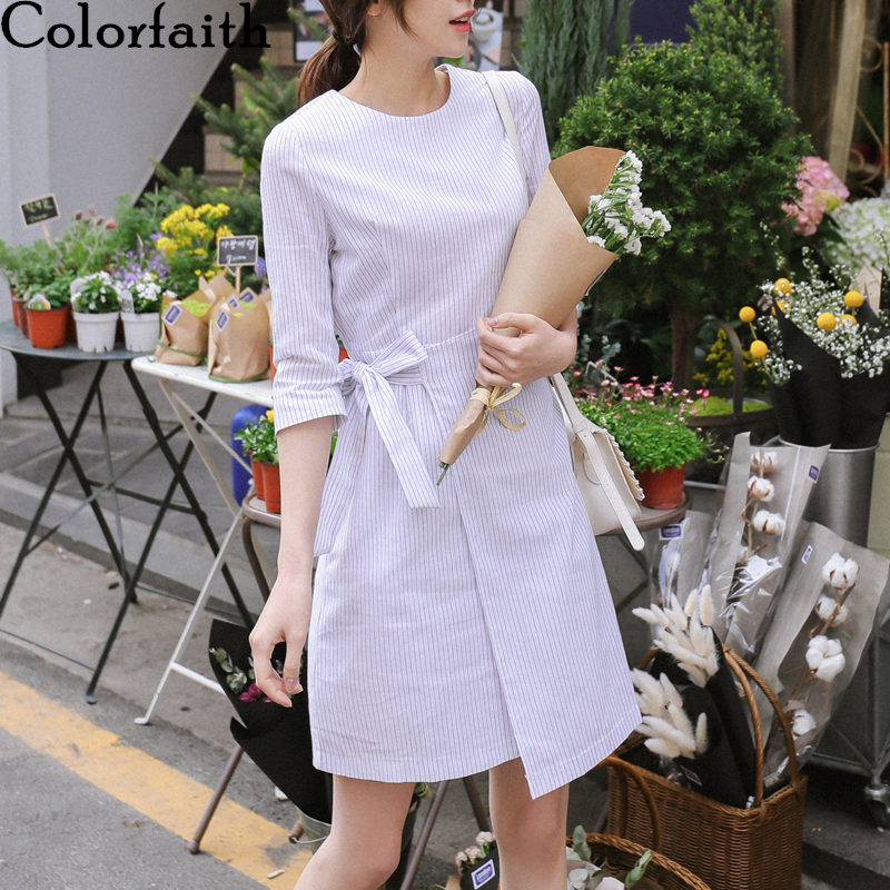 Colorfaith New 2020 Women Spring Summer Dress Casual Striped Asymmetrical High Waist Zipper Lace Up Bow Fashionable Dress DR9026