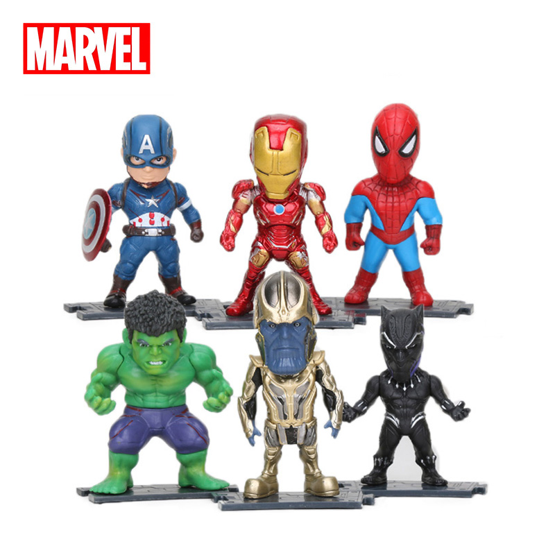 6 PCS The Avengers Hulk Thanos Spiderman Iron Man Heroes Action Figure Doll Toys