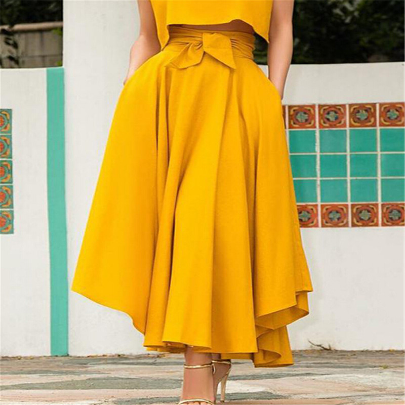 Fashion Women's Ladies Solid Bandage Pleated Long Skirts Cocktail Party High Waist  Summer A Line Skirts With Pocket