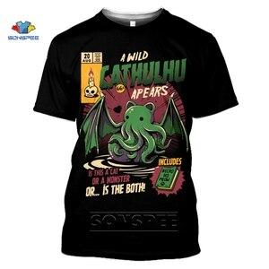 Мужская футболка SONSPEE Cthulhu и Lovecraft Miskatonic, футболка с Ктулху и забавным круглым вырезом, летний топ с 3D принтом, футболка для женщин