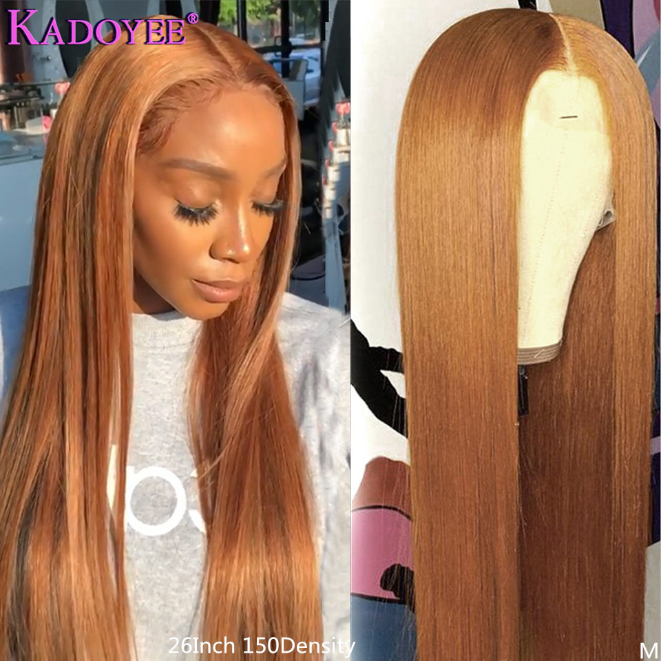 Ginge Blonde Lace Front Human Hair Wigs Brazilian Straight 13x6 Lace Front Wig 150% Remy Hair Honey Blonde Lace Wig For Women