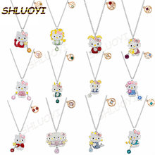 SHLUOYI high quality cute cat 12 constellation Hello Pendant Necklace simple clavicle Chain Gift fashion jewelry