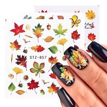 1 sztuk liście jesienne naklejki do paznokci złoty żółty liść klonu woda naklejki suwaki folia jesień projekt do paznokci Manicure TRSTZ856-859 tanie tanio Full Beauty CN (pochodzenie) 6 3x5 4cm Naklejka naklejka Plastic Paper Wraps 1 Sheet Nail Art Sticker Set Autumn Fall Leaves Design Manicure Nail Decorations