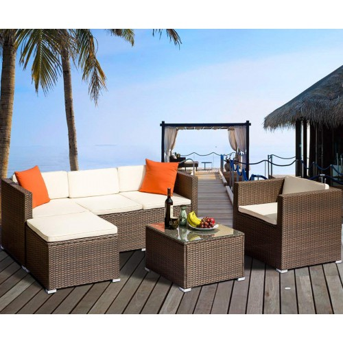 Furniture Sets Outdoor Garden Rattan Furniture Sets Cushioned Seat Patio Wicker Sofa Patio Wicker Sets With Coffee Table
