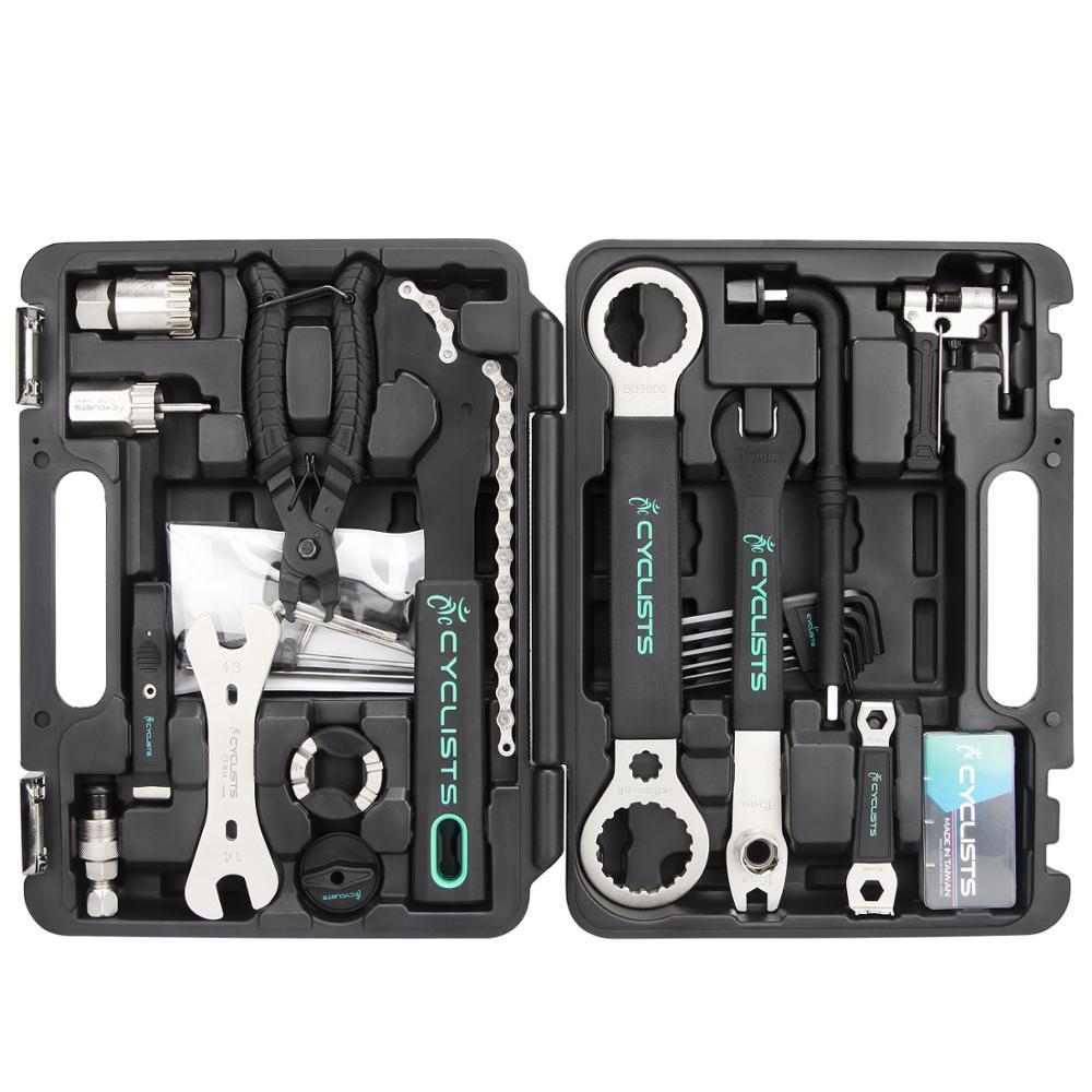 Pro Bicycle Repair Tools Box 18 In 1 Cycling Multitool Chain Pedal BB Wrench Hex Key Bike Tools Kit Box Set Bike Repair Kit
