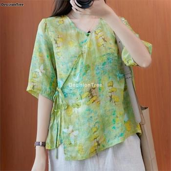 2021 vintage kobiety w stylu chińskim tradycyjna bawełniana lniana bluzka luźne góra qipao lady kobieta tradycyjna vintage cheongsam tanie i dobre opinie DecisionTree COTTON Linen CN (pochodzenie) WOMEN Suknem