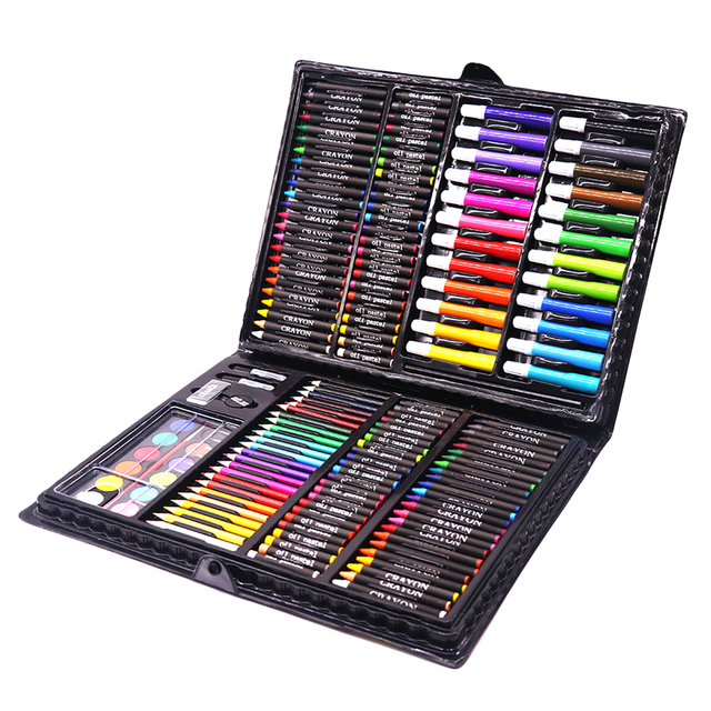 168PCS Painting Drawing Art Artist Set Kit Water Color Pen Crayon Oil Pastel Painting Tool Supplies Kids Stationery Gift Set 2