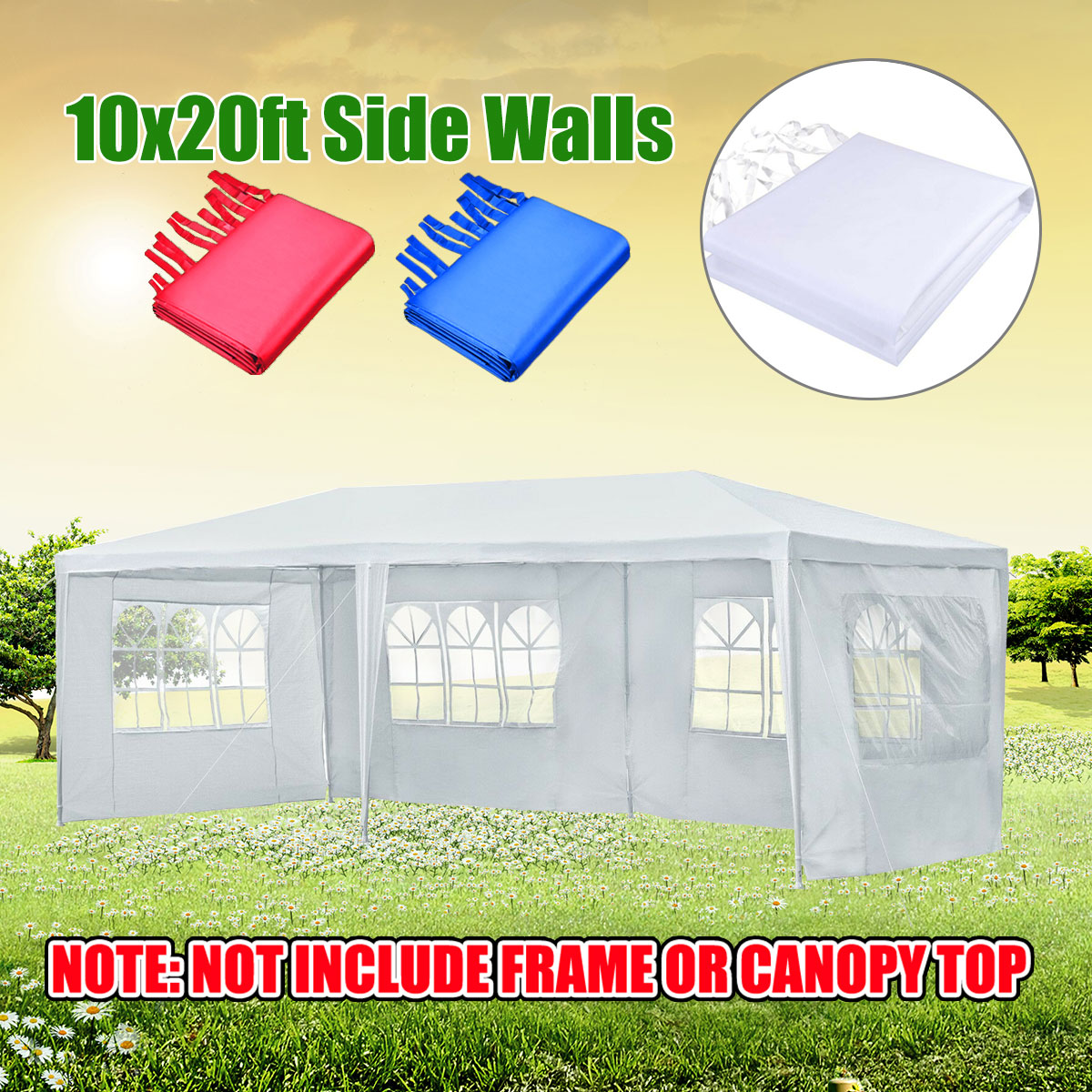 3x6m Oxford Cloth Party Tent Side Walls Waterproof Garden Patio Outdoor Canopy Sun Wall Sunshade Shelter Tarp Sidewall Sunshade