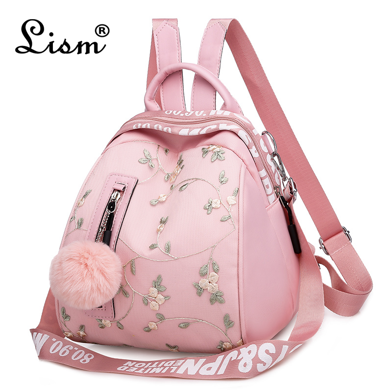 Women's Backpack 2020 New Oxford Cloth Exquisite Embroidery Multifunctional Bag Youth Girl Student School Bag Pink Main