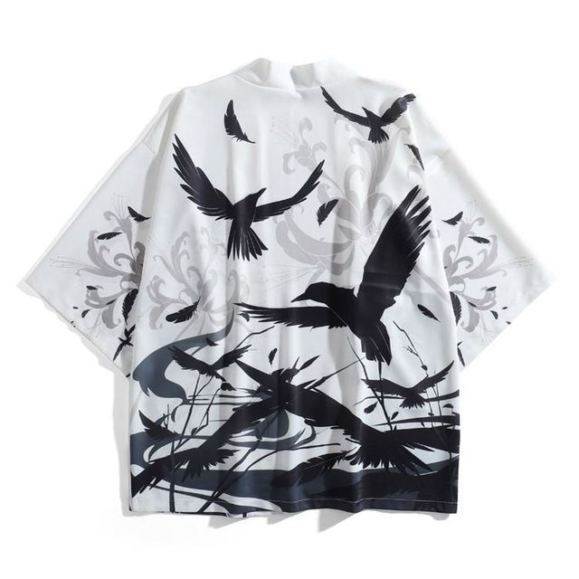 Samurai Crow Cardigan Kimono Traditional Thin Loose Japanese Coat  5