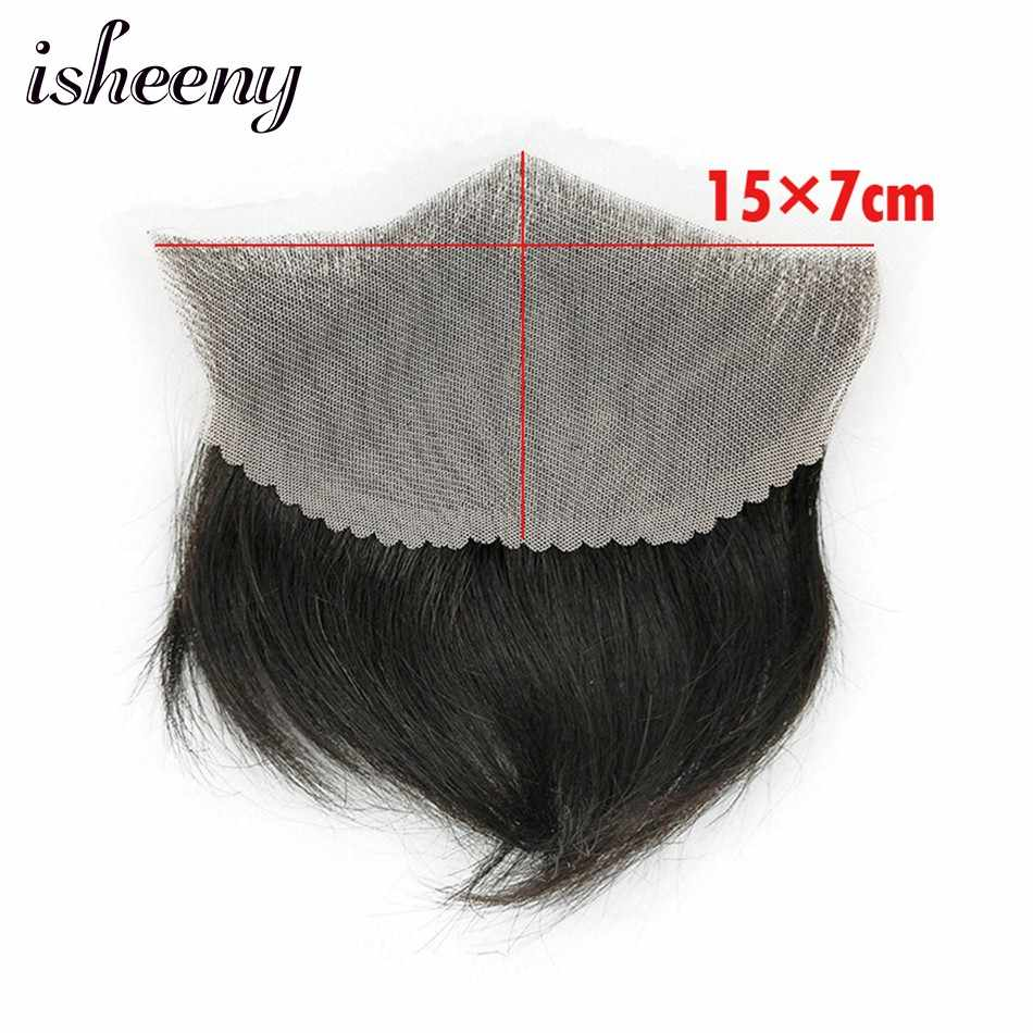 "15*7 100% Human Hair Piece For Men M Style Forehead Toupee Wig 4"" Short Remy Hair With Lace Base Natural Hand Made"