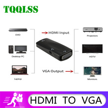 TQQLSS محول HDMI أنثى VGA HD 1080p ، كابل صوت ، محول كمبيوتر محمول أو كمبيوتر لوحي HDTV ، 3.5 بوصة