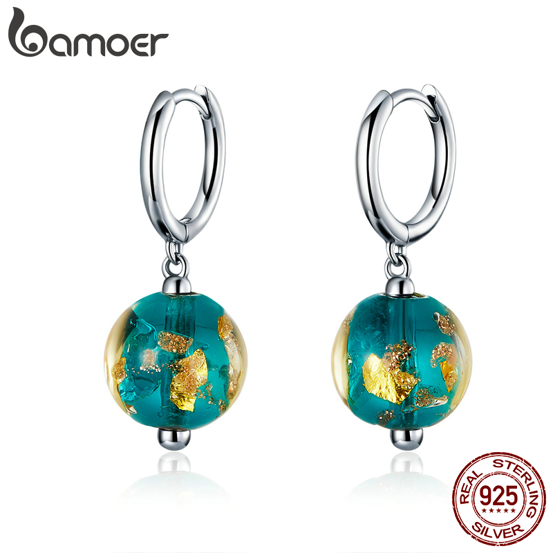 bamoer Genuine 925 Sterling Silver Fancy Glass Beads Drop Earrings for Women Exotic Dangle Earing Fashion Jewelry SCE817(China)