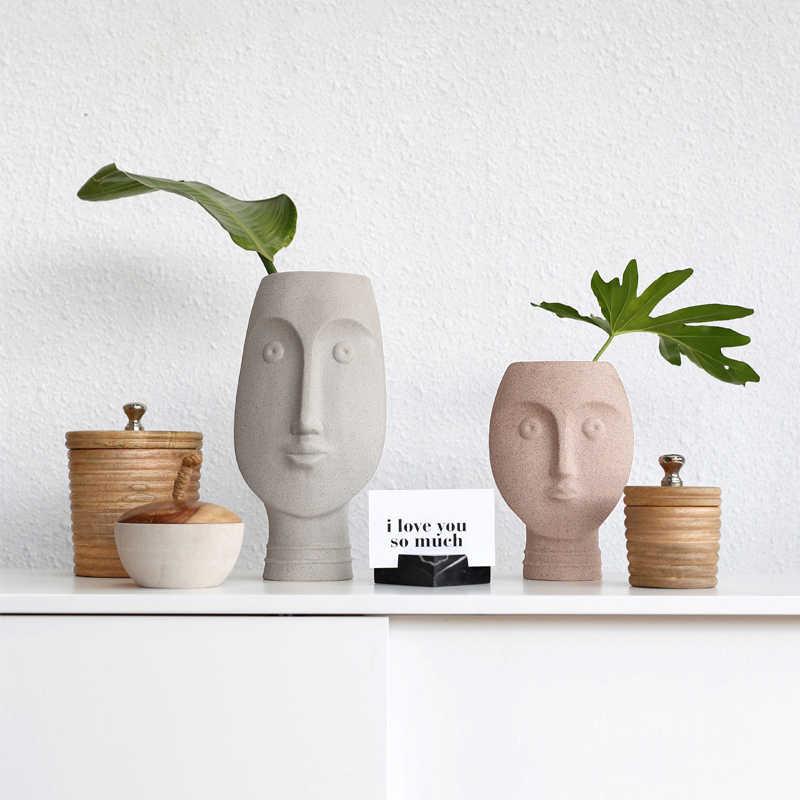 Современный дизайн Humen Face керамическая Цветочная ваза домашний декор аксессуары