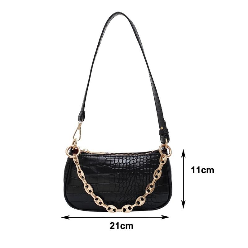 Moda çanta baguette me model krokodili çanta prej lëkure mini PU - Çanta dore - Foto 6