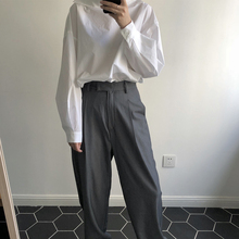 Spring women's pants casual solid color high waist loose wide