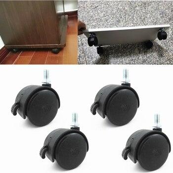 1 sztuk krzesło koła meble Caster 49mm śruba/płyta obrotowe kółka koła wymienić sprzęt wózek cichy hamulec ochrony