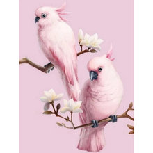 5D DIY diamond embroidery pink parrot bird diamond painting cross stitch square mosaic decoration(China)