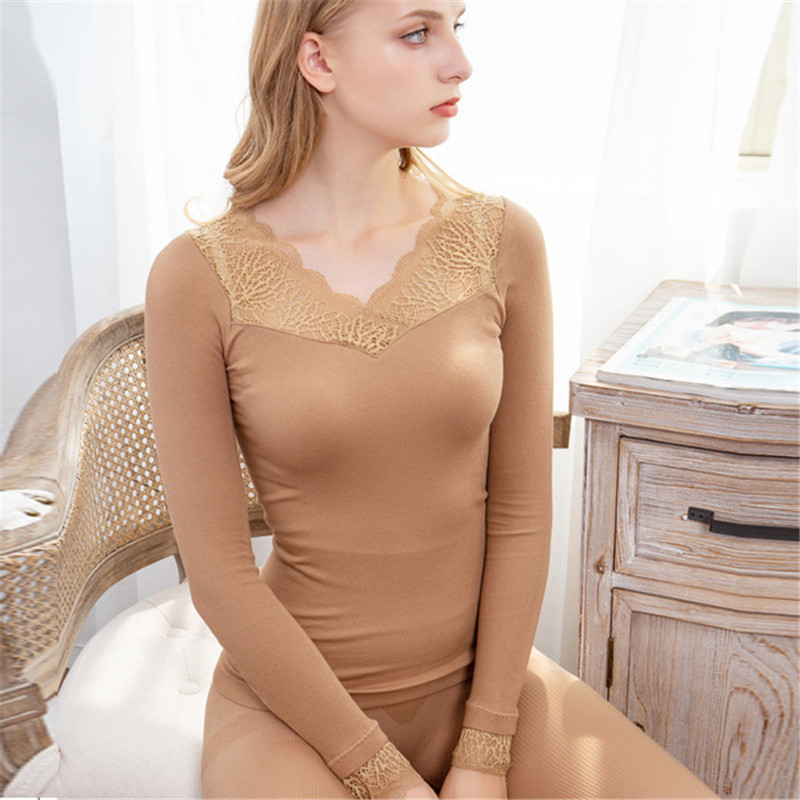 Sexy Lace Thermal Underwear For Women Winter Long Johns Set Bodycon Slim Thermal Clothing V-Neck Second Female Skin Inner Wear