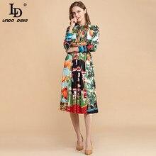Midi Dress Ld Linda DELLA Summer Runway Multicolor Elegant Women Print Vintage Bow Bow-Collar
