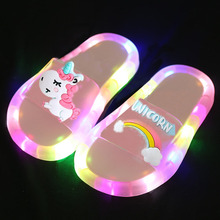 2020 Girl Slippers Children LED Kids Slippers Baby Bathroom Sandals Kids Shoes for Girl Boys Light Up Shoes Toddler cheap CN(Origin) Fits true to size take your normal size Girls 0-6m 7-12m 13-24m 25-36m 7-12y 12+y Animal Prints Rubber Flat Heels