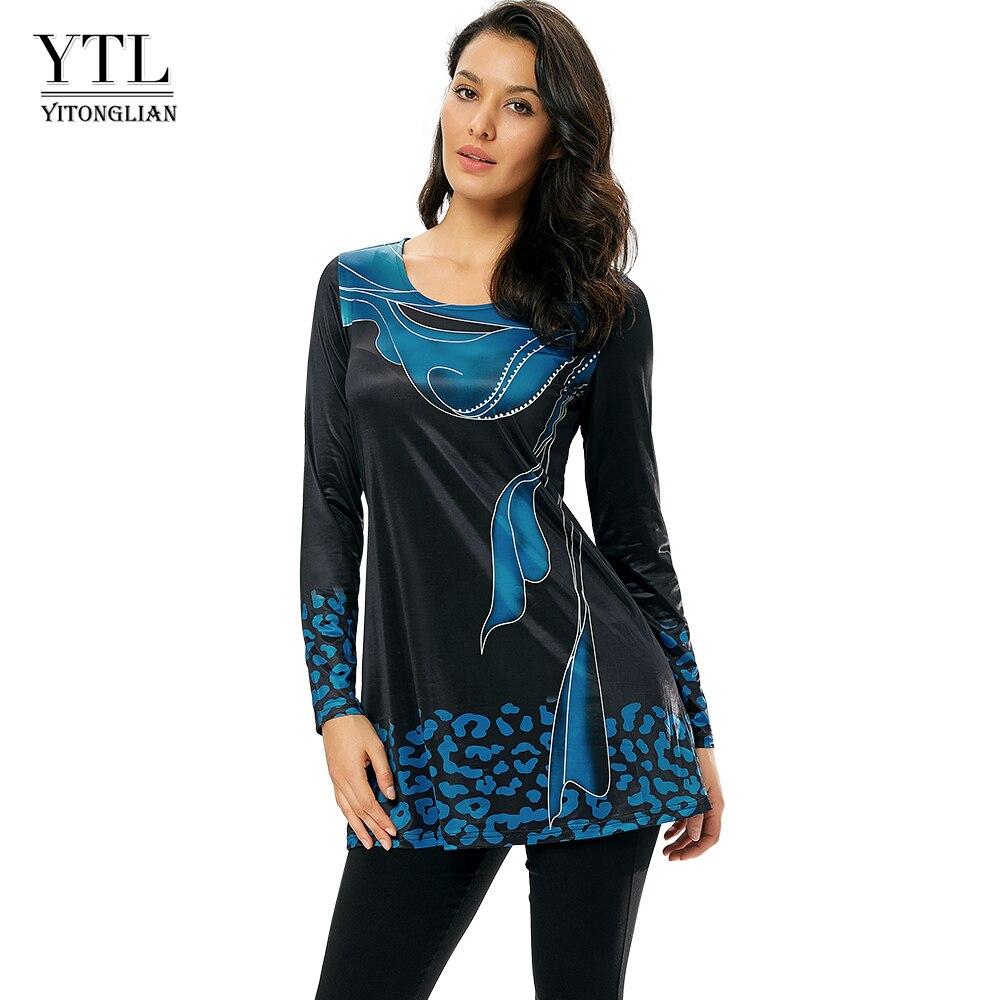 Women Fashion Sea Blue Hot Design Long Sleeve Tee Printed O-neck T-Shirt Elegant Female Casual Outdoor Style Tops H223