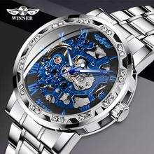 Zwycięzca męski mechaniczny zegarek męski automatyczny zegarek modny zegarek męskie zegarki diamentowy szkielet luksusowy zegarek na rękę tanie tanio T-WINNER Bransoletka zapięcie Nie wodoodporne Ze stali nierdzewnej Mechaniczna Ręka Wiatr 21cm Moda casual Okrągły