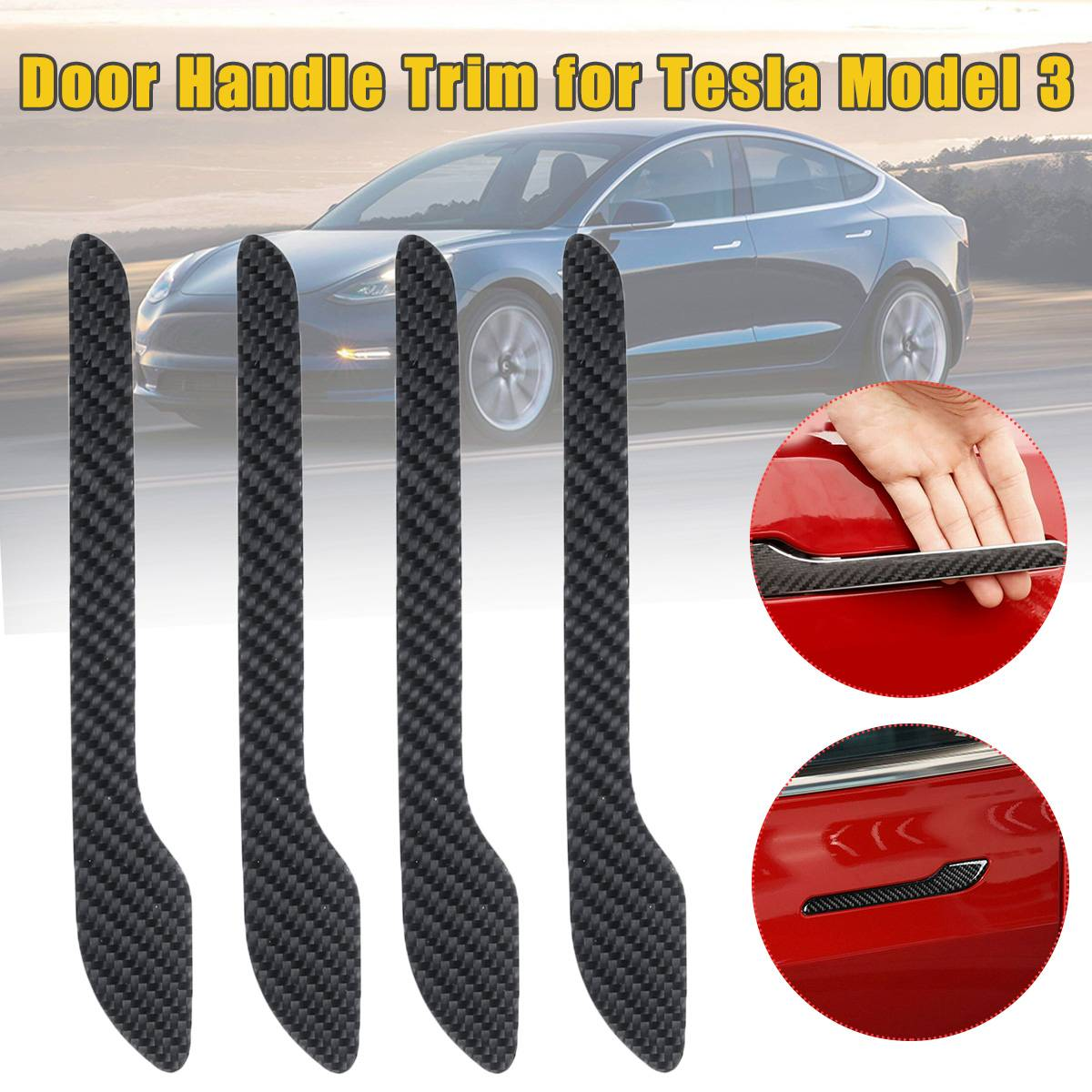 For Tesla Model 3 Door Handle Wrap Set Protector Stickers Door Handle Carbon Fiber Decal Car Styling