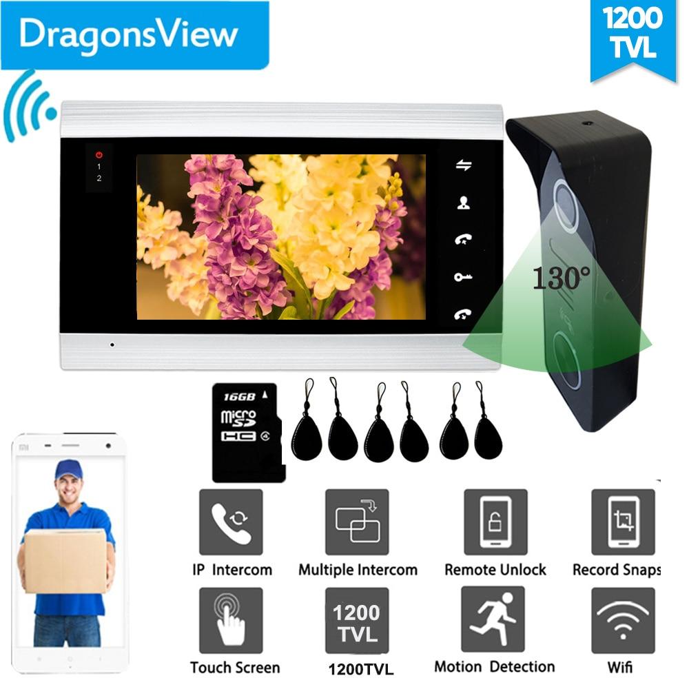 WIDE wide Angle】Dragonsview 7 pulgadas Video puerta teléfono inalámbrico Video Intercom Smart Wifi ISO Android 2,3mm lente impermeable Videoportero Dragonsview de 7 pulgadas con bloqueo para puerta de vídeo, timbre de puerta, cámara, botón de desbloqueo, visión nocturna, impermeable